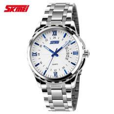 Đồng hồ nam dây hợp kim chống gỉ Skmei 9069 (Trắng kim xanh)