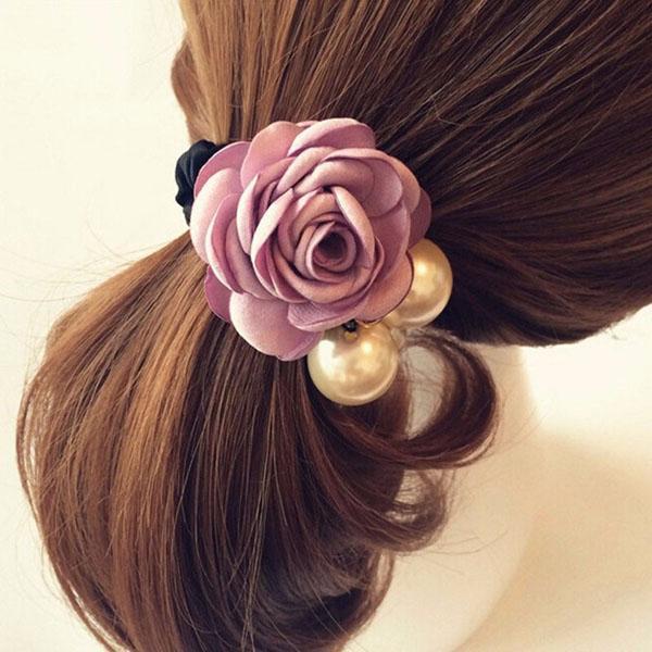 Dây buộc tóc Hoa Hồng Ngọc Trai Sang Trọng