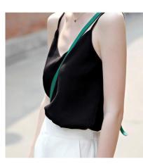 Áo hai dây voan lụa trẻ trung mùa hè (Đen) FREESIZE DƯỚI 55 KG