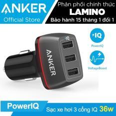 Sạc ô tô ANKER PowerDrive+ 3 cổng 36w có PowerIQ (Đen) – Hãng phân phối chính thức