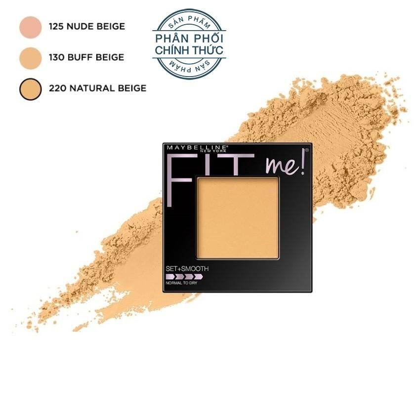Phấn mịn mượt tiệp màu da Maybelline New York Fit Me Set And Smooth màu 220 Natural Beige 9g