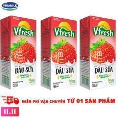 Thùng 48 Hộp Nước dâu sữa Vinamilk Vfresh 180ml