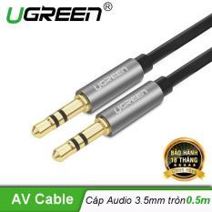 Dây Audio 3.5mm 2 đầu đực dạng cáp tròn mạ Vàng 24K, TPE dài 0.5M UGREEN AV119 10732 – Hãng phân phối chính thức