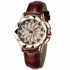 Đồng hồ nữ hoa xoay 360 độ SANDA JAPAN dây da độc đáo SA211 siêu thời trang