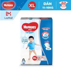 Tã dán Huggies Dry Super Jumbo XL62(Đệm mây co giãn) – Gói 62 miếng (Cho bé 11kg-16kg)