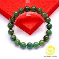 Trang sức Longgem Chuỗi đeo tay đá Ngọc Cẩm Thạch màu xanh dầu 10mm