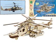 Đồ chơi lắp ráp gỗ 3D Mô hình Trực thăng KA-50 laser