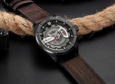 Đồng hồ nam dây da cao cấp mặt thép trẻ trung, sang trọng- Đồng hồ CURREN