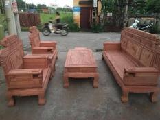 Bộ bàn ghế gỗ phòng khách sơn thủy gỗ hương đá