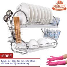 Giá để chén bát 2 tầng Homestar GTHS2 tặng đôi găng tay cao su