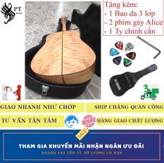 Đàn Guitar (Ghi-ta) Acoustic cao cấp Còng Cườm + Bao da 3 lớp + Phím gảy Alice + thanh chỉnh cần