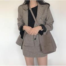 Set bộ vest nữ caro (áo vest+chân váy)