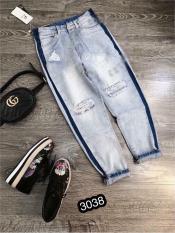 Quần Jeans Nữ Dạng Baggy Phối Sọc Cao Cấp OHS3038