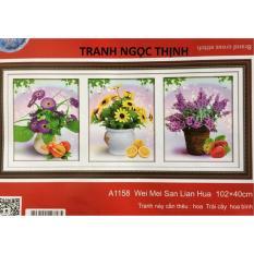 Tranh thêu chữ thập Bình hoa 3 bức DLH-YA1158-Ngọc Thịnh