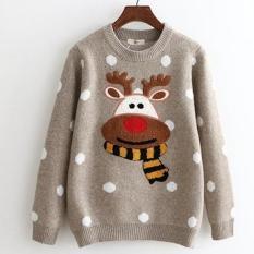 Áo len nữ tay dài đan hình tuần lộc Noel Christmas chấm bi LTTA823 (Nâu) BEAUTYSALES