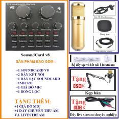 Combo bộ Mic Thu Âm, Hát Karaoke,Livestream online cực hay(Trọn Bộ Souncard V8, MIC 850/900)