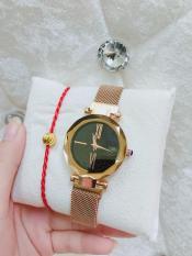 Đồng hồ Nữ GUOU dây nam châm ( dây vàng mặt đen ) – TẶNG 1 vòng chỉ đỏ may mắn