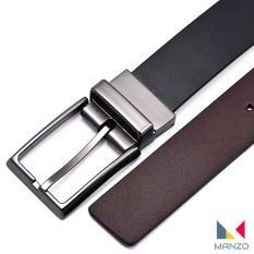 Thắt lưng nam, dây nịt nam, DA BÒ THẬT 100% Manzo 108 (Dây 2 mặt đen, nâu) – Tặng đinh đục lỗ tiện lợi