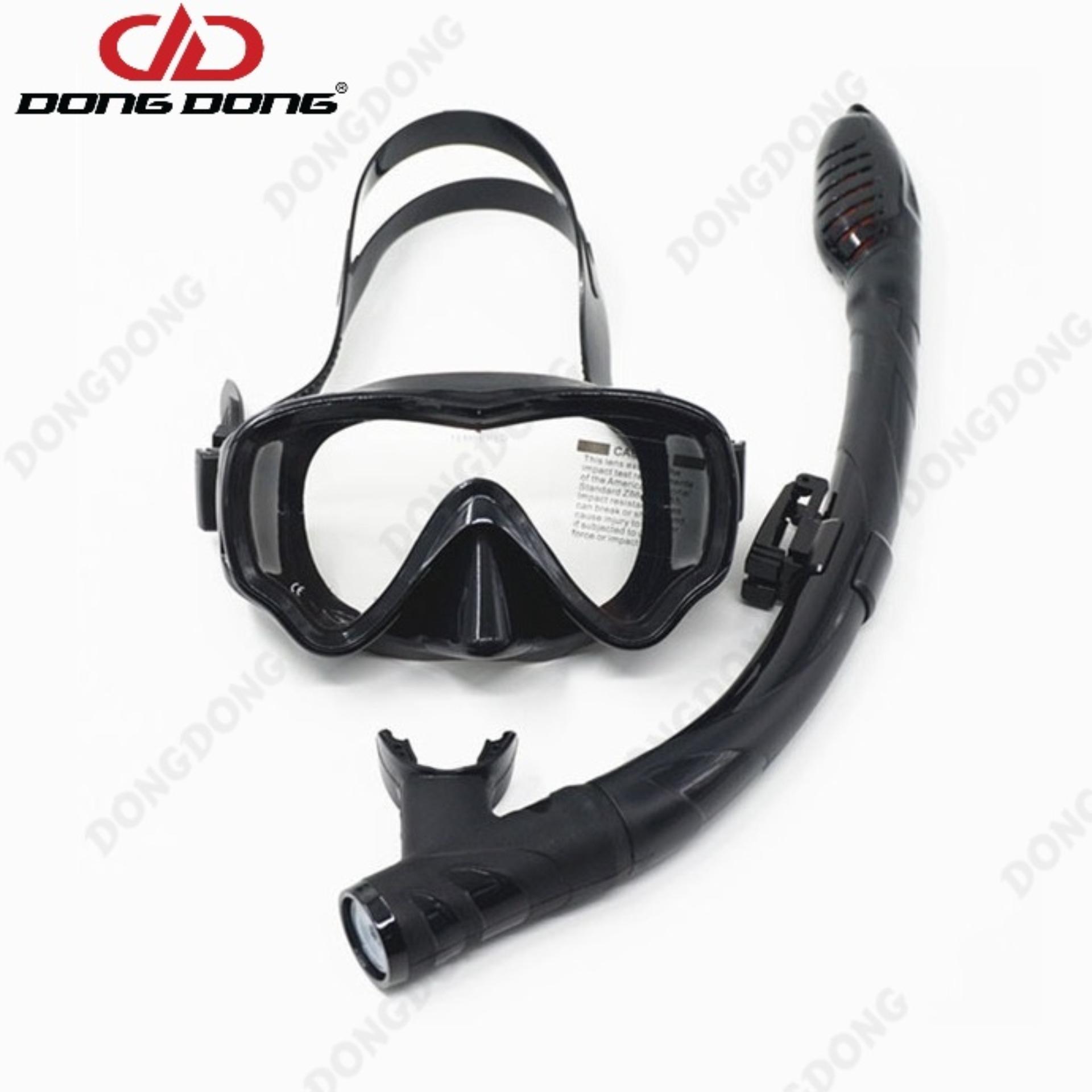 Kính lặn ống thở AMS, mắt KÍNH CƯỜNG LỰC + ống thở van 1 chiều ngăn nước cao cấp -...