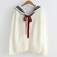 Áo len nữ tay dài thuỷ thủ thắt nơ cổ áo LTTA633 (Trắng đen)