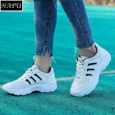 (Video + Hình thật) HÀNG CAO CẤP (đừng so với loại rẻ) Giày sneaker nữ 3 sọc đế răng cưa HAPLI ( trắng sọc hồng, trắng sọc đen)