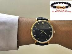 Đồng hồ nam dây da cao cấp Halei dây đen mặt đen TẶNG 1 vòng tỳ hưu phong thủy may mắn HL545