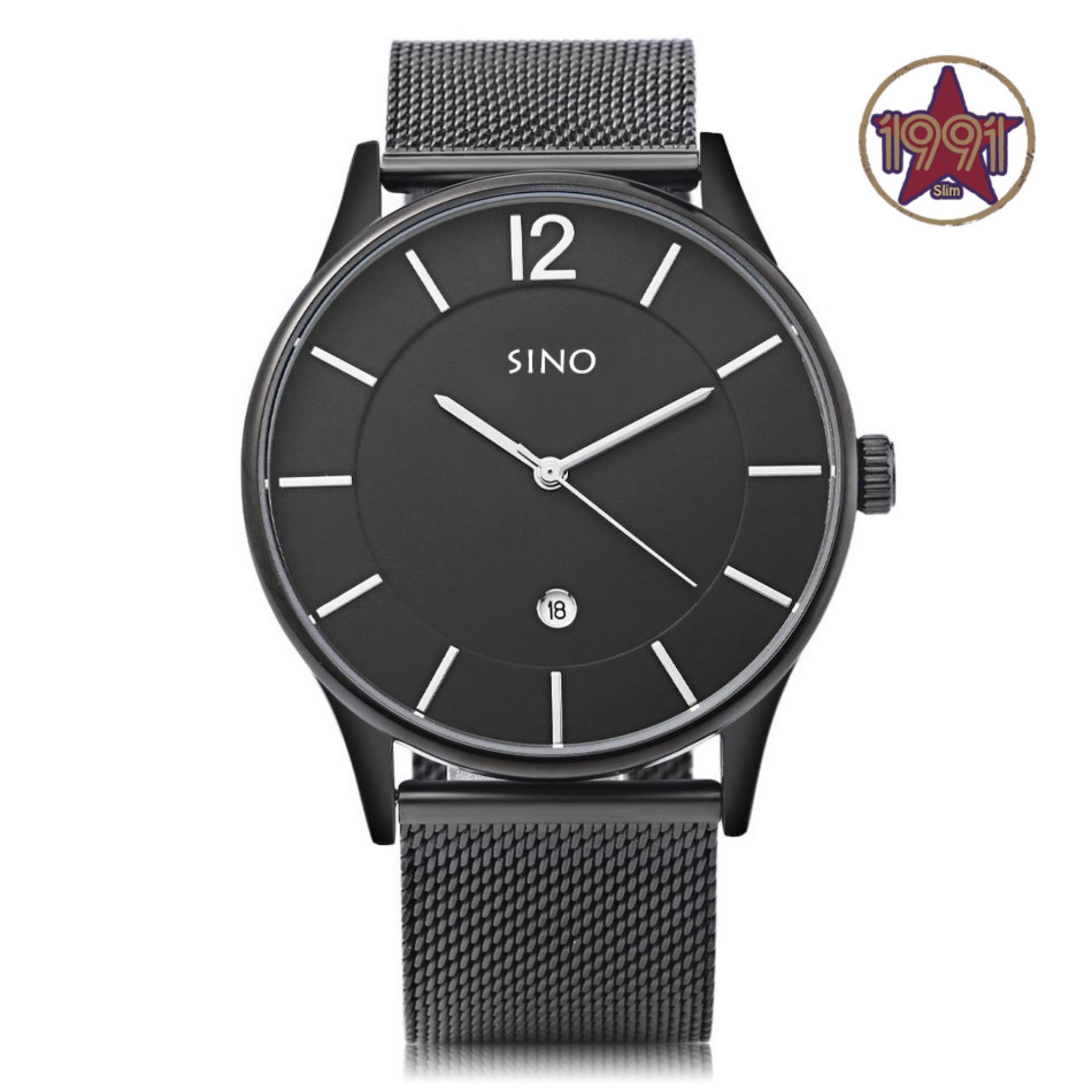 Đồng hồ nam dây thép không gỉ mặt mỏng Sino Japan Movt S6147 Đen- Kim bạc