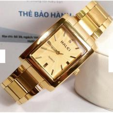 Đồng hồ nam Halei mặt chữ nhật phong cách cuôc hút dây vàng mặt vàng