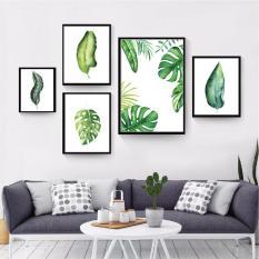 Bộ 5 khung tranh canvas lá tropical