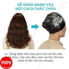 Mũ bơi nữ nón bơi nữ trùm được tóc dài ôm trọn búi tóc POPO CA35 chất liệu silicone chống vào nước