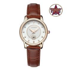 Đồng hồ nữ dây da cao cấp SANDA JAPAN MOVT SA198( Dây Nâu) + Tặng kèm pin, Phiếu bảo hành và thay pin miễn phí 1 năm tại Slim1991