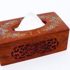 Hộp khăn giấy bằng gỗ hương cao cấp lọng hoa văn chữ nhật