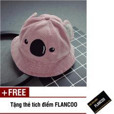 Nón vành hình gấu vải jean thời trang bé gái Flancoo 1713 (Hồng) + Tặng kèm thẻ tích điểm Flancoo