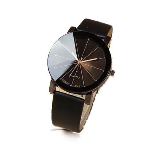 Đồng hồ nữ dây da Thạch Anh Hình Tròn (Dây Đen, Mặt Đen)