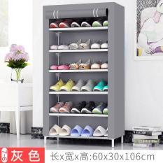 Tủ vải giày dép 7 tầng 6 ngăn cao cấp – Màu Xám