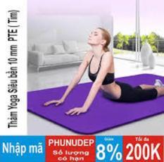 Thảm tập Yoga siêu bền loại dày 10mm TPE (Tím) dày dài kích thước 1m80 x 61cm x 10cm ( CÓ TÚI ĐỰNG )