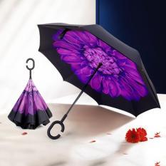 Ô gấp ngược thông minh Kazbrella ( Họa tiết 3D hoa tím )