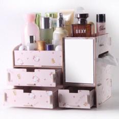 Kệ đựng mỹ phẩm có gương bằng gỗ nhựa ( giao màu ngẫu nhiên )