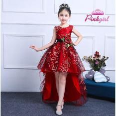 Đầm hoa đào đỏ có đuôi