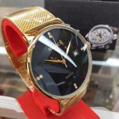 Đồng hồ nam Halei dây lưới vàng mặt đen