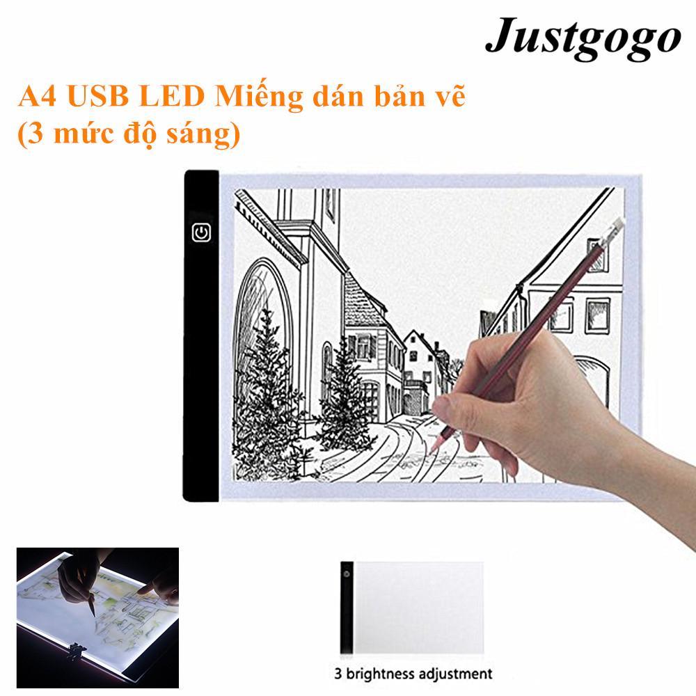 Bảng Giá Justgogo A4 LED Nghệ Sĩ Đồ Họa Mỏng Nghệ Thuật Stencil Vẽ Bảng Hộp Ánh Sáng Truy Tìm Bảng Pad Ba cấp Tại justgogo