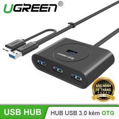 HUB USB 3.0 bốn cổng kèm OTG và hỗ trợ nguồn UGREEN CR113 20293 – Hãng phân phối chính thức