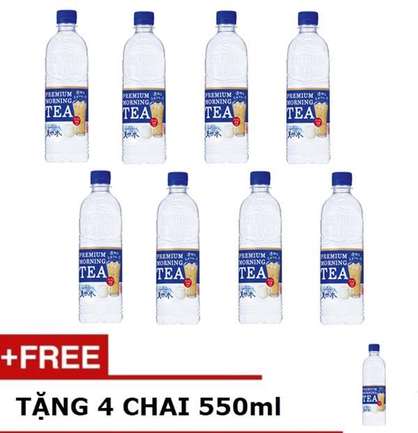 Nước suối vị trà sữa PREMIUM MORNIG TEA Suntory Nhật Bản 550ml – Combo 8 chai tặng thêm 4 chai tương tự