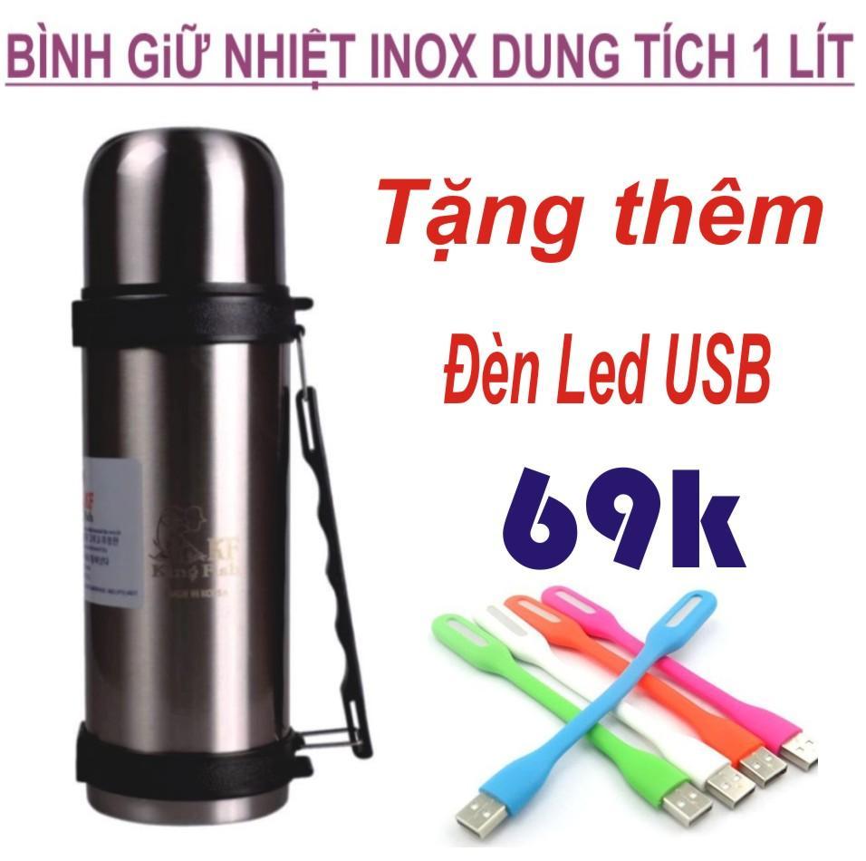 Bình Giữ Nhiệt Inox Đa Năng Dung Tích 1 Lít + Tặng Thêm Đèn Led USB