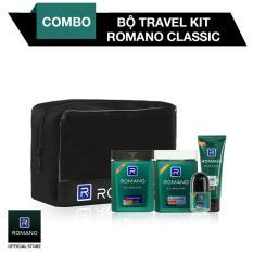 Combo Travel Kit Romano Dầu gội, Sữa tắm, Gel vuốt tóc, Lăn khử mùi, Túi du lịch sạch sảng khoái