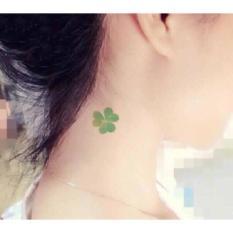hình xăm dán tattoo cỏ 4 lá (tặng mini tattoo)