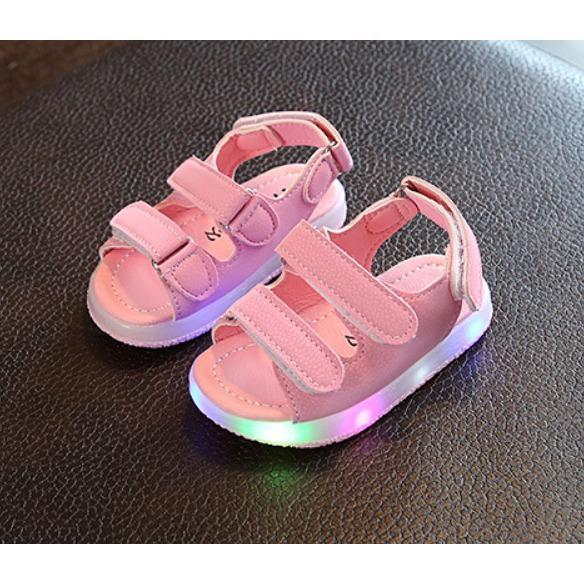 Dép sandal quai ngang bé gái có đèn 1-7 tuổi