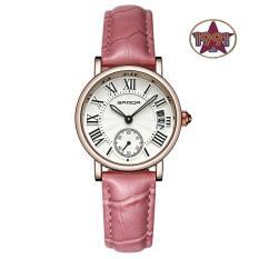 Đồng hồ nữ dây da cao cấp SANDA JAPAN SA206 – Dây hồng. Tặng kèm vòng tay