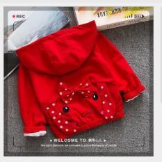 Áo khoác dù 2 lớp thiết kế mới may hình chó có tai phù hợp bé gái từ 8kg đến 20kg( Màu Đỏ, vàng, hồng)