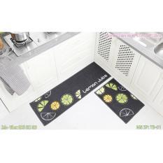 Bộ 02 thảm nhà bếp cao cấp có hoa văn (40 x 60 và 40 x 120 cm)